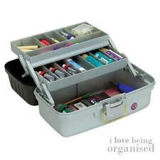 Medium 2-Tray Caddy Art Box Craft Tool Carrier Organiser
