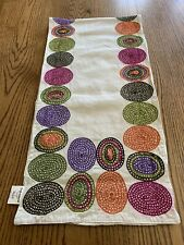 """Crate & Barrel Ovation Multi Colored Table Runner Embroidered 60"""" India"""