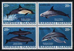 MARSHALL ISLANDS, SCOTT # 54-57 (57A), BLOCK OF 4 MNH DOLPHINS, SEA CREATURES