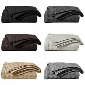 100% COTTON HONEYCOMB WAFFLE EFFECT WASHABLE SOFA BED CHAIR BLANKET THROW