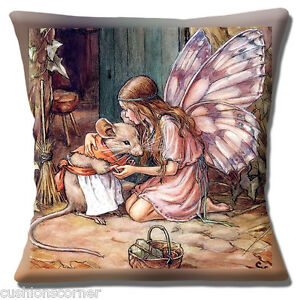 Cute Fairy Girl Cuddling Mrs. Mouse Cushion Cover 16x16 inch 40cm Child's Room