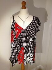 20 PETITE NEXT WOMENS BLOUSE TOP RED/BLACK SLEEVELESS FRILLED SHOULDER