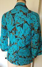 NWT Bob Mackie multicolor blue brown black abstract print  blazer jacket 10