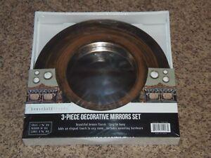 Household Trends 3-Piece Bronze Decorative Mirror Sets(APT-SHELF)