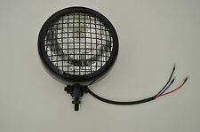 """5.75"""" Motorcycle Headlight Black Mesh Steel Bottom Mount for Cafe Racer Project"""