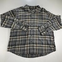 Eddie Bauer Button Up Shirt Adult XL Black Gray Plaid Flannel Long Sleeve Mens