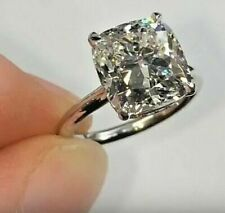 3.Ct Cushion Cut Real Moissanite Solitaire Engagement Ring Solid 14k White Gold