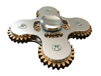 Hand Spinner Metal Tri Fidget 5 Gear Link Desk Toy Kids Or Adult - Silver