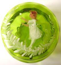 ANTIQUE MARY GREGORY GREEN GLASS POWDER JAR JEWELRY BOX GIRL & BALL