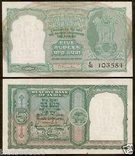 ★★ 5 Rupees B.Rama Rau ~ 2nd Issue ~ Incorrect Hindi ~ AUNC ~ C-2 ★★ bb85
