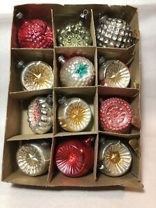 12 Vintage Glass Christmas Ornaments Bumpy Indents Stars