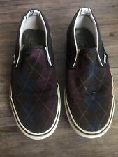Vans Mens Skate Shoes Blue Purple Black Plaid Canvas Slip On Low Sz 10 Sneakers