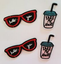 2 Sunglasses and 2 Drinks Embroidered Iron On Applique Patch Patches *US SELLER*