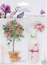 "Papermania 5x5"" sheet with 3 clear rubber stamps Flowers pot vase Get well soon"
