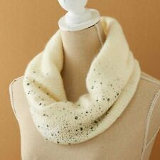 """CREAM KNIT SNOOD SCARF / STUDS 11"""" T x 14"""" D WOMENS CLOTHING ACCESSORIES SCARVES"""