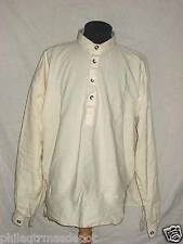 Muslin Shirt - Off White w/Pewter Buttons Round Collar - Large - Civil War !
