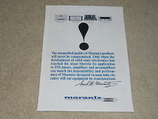 Marantz 1964 Ad, Model 9 Tube Amp, Model 7 Preamp, B-9, Model 10 FM Tuner, 1 pg