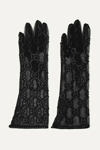 Gucci Black GG Logo Embroidered Tulle Gloves, New, Ori$670!!!