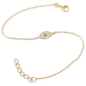 Ladies 9ct Rose Gold on Silver Evil Eye Bracelet White Blue Cubic Zirconia