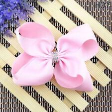 5 Inch Girl Rainbow Bows Hairpin Large Rib Grosgrain Ribbon Bow Hair Clip H07