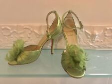 Auth. Christian Louboutin Satin Peep Toe Feather Green Shoes Heels Sandals 36.5