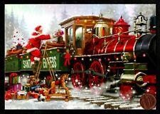 Christmas Train Santa Express Presents Toys Snow Glittered - Greeting Card New