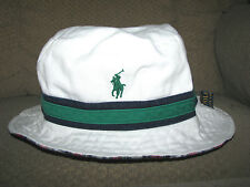 Men's POLO-RALPH LAUREN Reversible PONY Bucket Hat (s-M) White/ Plaid