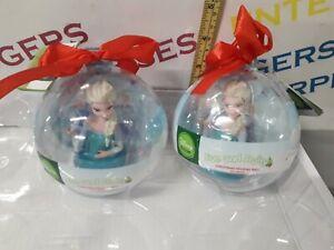 2 x Disney Frozen Christmas Elsa Figurine & Treat Ball Gift/Bauble/Decoration