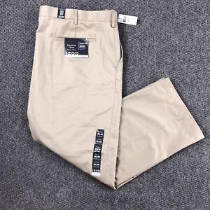 NEW Izod American Chino Men's 50x30 Pants Beige Flat Front Cotton Wrinkle Free