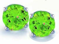 14K GOLD PERIDOT 2.86 CARAT ROUND SHAPE STUD EARRINGS - BUY 2 GET 1 FREE!!