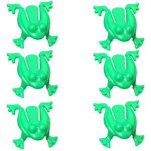 6 Jumping Frogs Tiddlywink Small Green Kids Party Bag Fillers Pocket Money Toy