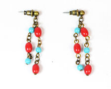 ABTRACT ART INSPIRED BRONZE / RED / BLUE CONTRASTING COLOURS EARRINGS (ZX8)