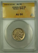 1935-D/D/D US Buffalo Nickel 5c Coin FS-502 RPM-2 ANACS AU-50 *Quite Scarce*