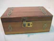 OLD CEDARWOOD-WOODEN JEWLERY BOX TRINKET BOX METAL HANDLES DOVETAIL
