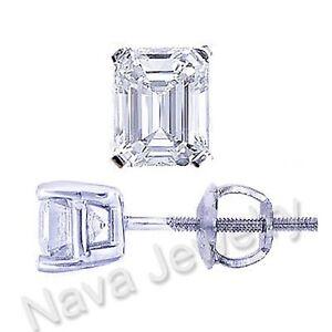 0.80 Carat Emerald Cut Natural Diamond Stud Earrings