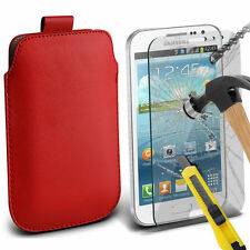 Soft PU Leather Pull Tab Cover Case Pouch & Glass for Samsung Galaxy Win 8552