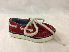 Janie and Jack Boys 4 Toddler Baby Red Boat Shoes Moc Toe Loafer Deck Canvas