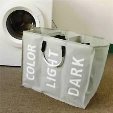 3 Section Folding Laundry Sorter Hamper Organizer Washing Clothes Basket Storage
