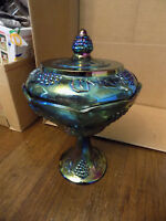 Vtg INDIANA Glass Blue Iridescent CARNIVAL WEDDING BOWL Compote w Lid Grapes EUC