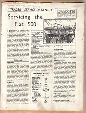 FIAT 500 LATO VALVOLA MOTORE operatore servizio dati N. 33 1938