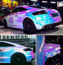 White Holographic Rainbow Chrome Car Vinyl Wrap Bubble Free Sticker Decor
