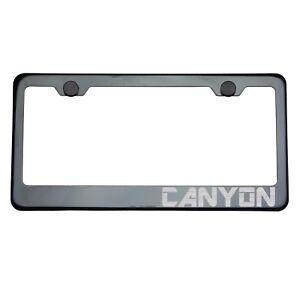 Titanium Gun Metal License Plate Frame CANYON Laser Etched Metal Screw Cap