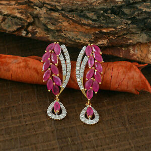 14K Yellow Gold Plated Engagement & Wedding Botanical Drop Earring's 4.81Ct Ruby
