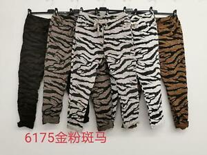 Women's Ladies Italian Zebra Leopard Animal Print Magic Trouser Pant Joggers
