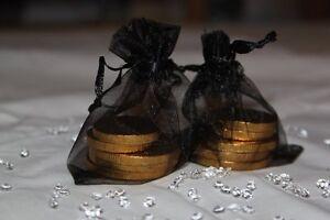 10 x BLACK ORGANZA BAGS WEDDING TABLE DECORATION 7cm x 9cm UK SELLER