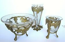 SOLID BRASS STANDS WITH CRACKLE GLASS INSERTS, set of 3