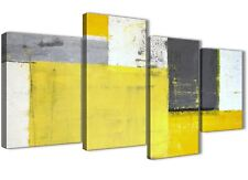 Large Yellow Grey Abstract Painting Canvas Wall Art - 4 Set - 130cm Wide - 4346