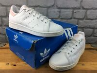 ADIDAS UK 4 EU 36 2/3 STAN SMITH LEATHER TRAINERS WHITE PINK CHILDRENS LADIES M
