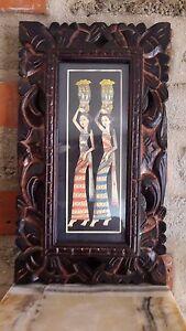 Bild Portrait  Gemälde Wandschmuck Rahmen Geschnitzt Kunst Deko Bali