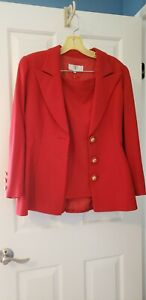 VALENTINO, Miss V, 2 Piece,  Red Wool Skirt Suit (Italy sz 42), (US sz 8)